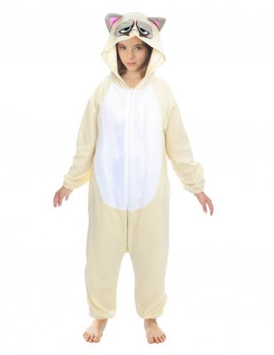 Grumpy Cat™-Overall Kostüm für Kinder Tier-Overall beige-grau