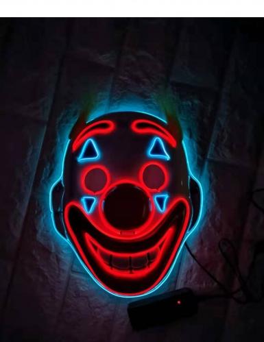 LED-Clownmaske für Fasching und Halloween bunt