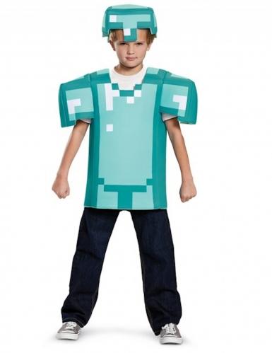 Minecraft™-Kostüm Diamant-Rüstung für Kinder türkis