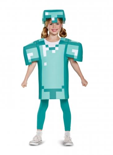 Minecraft™-Kostüm Diamant-Rüstung für Kinder türkis-1