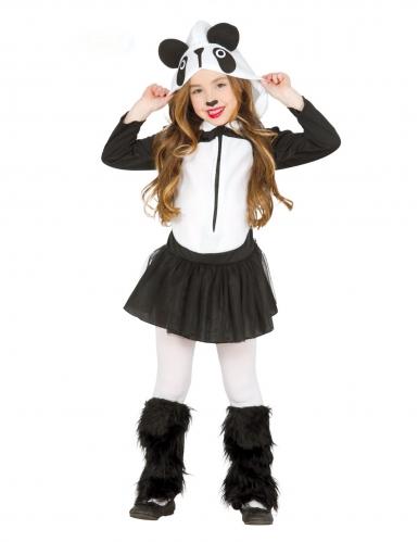 Tierisches Pandakostüm für Mädchen Karnevals-Verkleidung schwarz-weiss