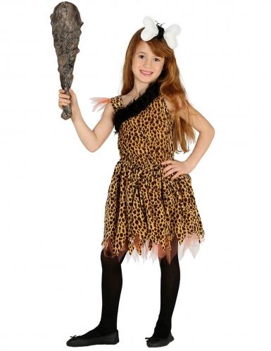 Steinzeitmensch Kinderkostüm für Mädchen Karneval braun-schwarz