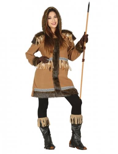 Eskimo-Kostüm für Damen Inuit-Verkleidung für Karneval braun