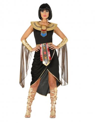 Ägyptisches-Damenkostüm Pharaonin für Karneval schwarz-gold-rot