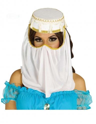 Kopfbedeckung-orientalisch für Damen Orient-Prinzessin weiss-goldfarben