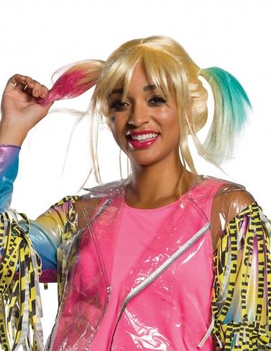 Kurze Harley-Quinn™-Perücke Birds of Prey™ blond-rosa-blau