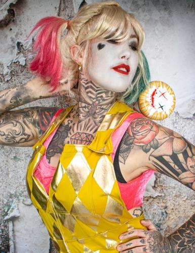 Birds of Prey™-Latzhose und Top Harley Quinn™ Kostüm für Halloween gold-2