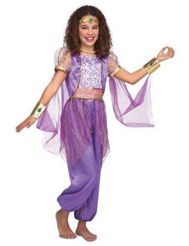 Orientalisches Mädchenkostüm für Fasching lila-goldfarben