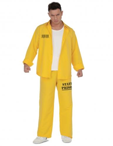 Gefangener Herrenkostüm für Fasching Sträflings-Verkleidung gelb-schwarz