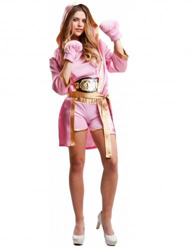 Boxer-Outfit für große Mädchen Sportlerin-Kostüm für Damen rosa-goldfarben