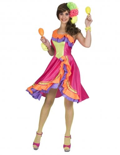 Rumba-Kostüm für Damen Faschingskostüm Tänzerin bunt