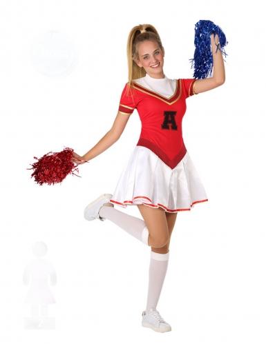 Cheerleader-Teenagerkostüm für Fasching sportliche-Verkleidung rot-weiss