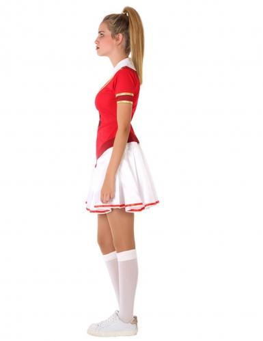 Cheerleader-Teenagerkostüm für Fasching sportliche-Verkleidung rot-weiss-1