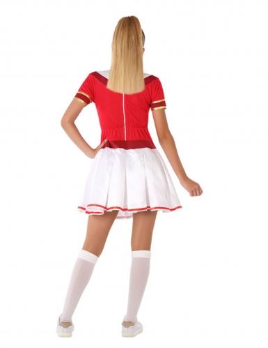 Cheerleader-Teenagerkostüm für Fasching sportliche-Verkleidung rot-weiss-2