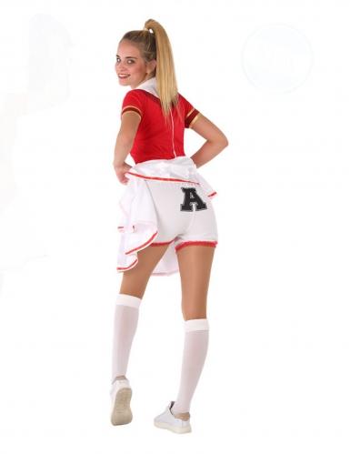 Cheerleader-Teenagerkostüm für Fasching sportliche-Verkleidung rot-weiss-3