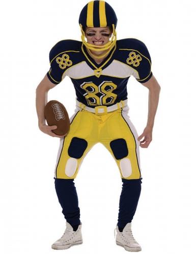 American-Football-Kostüm Sportler-Verkleidung für Fasching dunkelblau-gelb