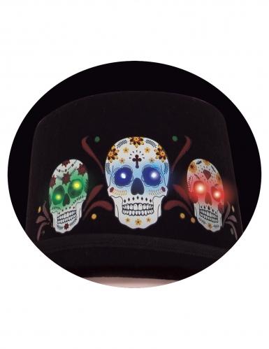 Dia de los Muertos-Hut mit Leuchtfunktion Halloween-Accessoire schwarz-bunt-1