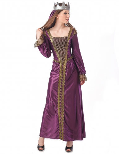 Mittelalter-Kleid mit Krone Königin-Kostüm lila-gold
