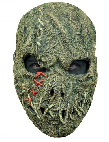 Gruselige Vogelscheuche-Latexmaske für Erwachsene beige-grün