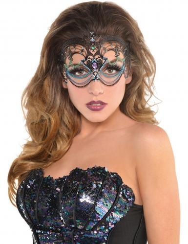 Filigrane Meerjungfrauen-Maske Kostüm-Accessoire schwarz-bunt