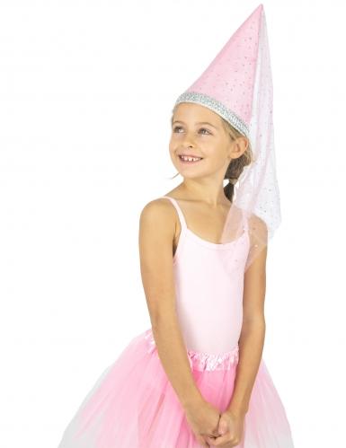 Prinzessinnen-Hut Märchen-Kopfbedeckung für Mädchen rosa-silberfarben