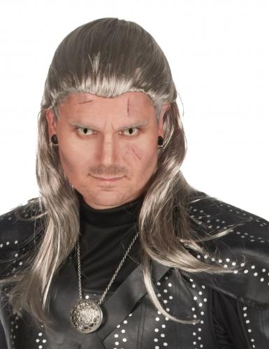 Hexer-Perücke für Herren Halloween grau-silber