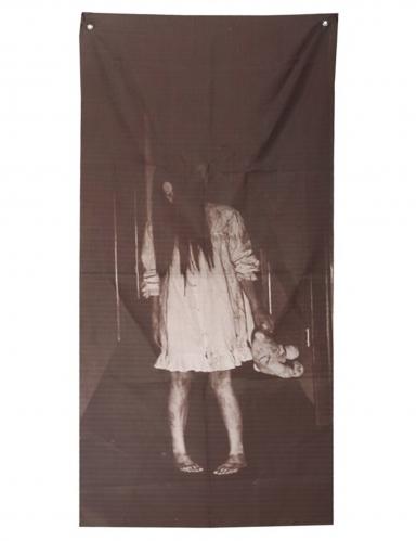 Schauriges Mädchen besessene Halloween-Wanddeko schwarz-weiss 75 x 160 cm