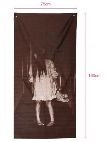 Schauriges Mädchen besessene Halloween-Wanddeko schwarz-weiss 75 x 160 cm-1
