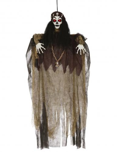Voodoo-Figur mit Leuchtfunktion Halloween-Deko braun-schwarz-weiss