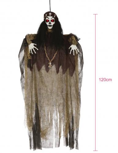 Voodoo-Figur mit Leuchtfunktion Halloween-Deko braun-schwarz-weiss -1