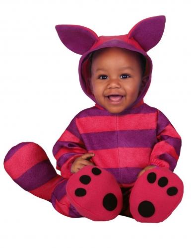 Gestreifte Katze Babykostüm für Kleinkinder Kostüm-Overall lila-pink