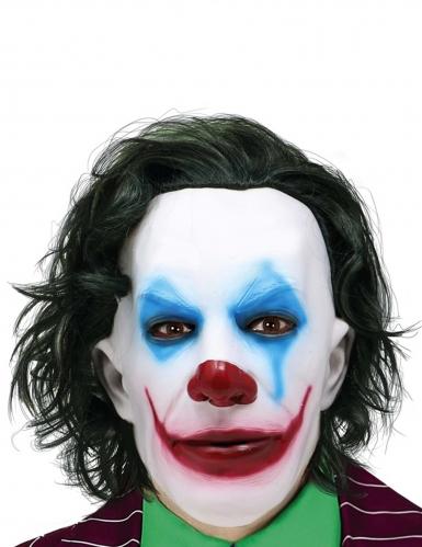 Trauriger-Clown-Maske für Halloween mit Haaren weiss-rot-blau