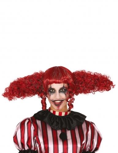 Clown-Perücke mit übergroßen Zöpfen für Erwachsene rot