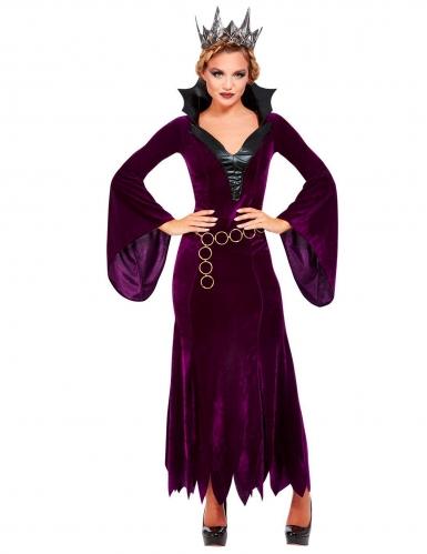 Mittelalterliche Gräfin Damenkostüm für Halloween lila-schwarz-1
