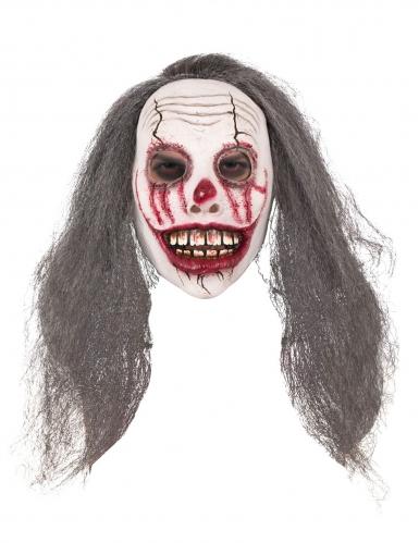 Blutverschmierte Clown-Maske mit Kunsthaaren Halloween-Zubehör weiss-braun-rot