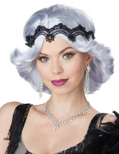 20er-Jahre Perücke für Damen mit Spitzen-Haarband grau-schwarz