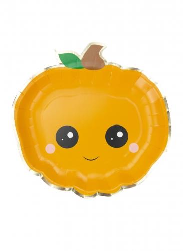 Kawaii-Kürbisteller für Halloween Partyzubehör 8 Stück orange 23 cm