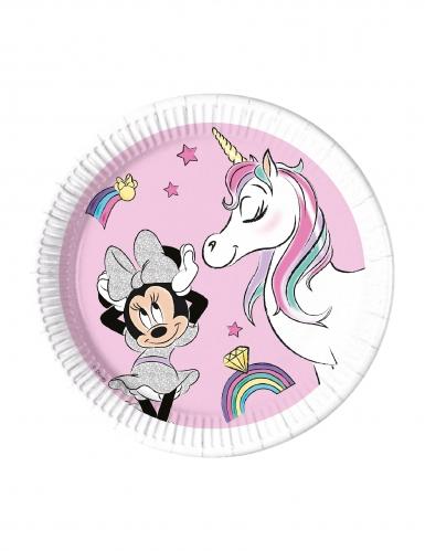Zuckersüße Minnie und das Einhorn™-Pappteller 8 Stück bunt 23 cm