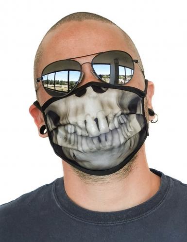 Totenkopf-Gesichtsmaske Skelett-Gebiss für Erwachsene beige-schwarz