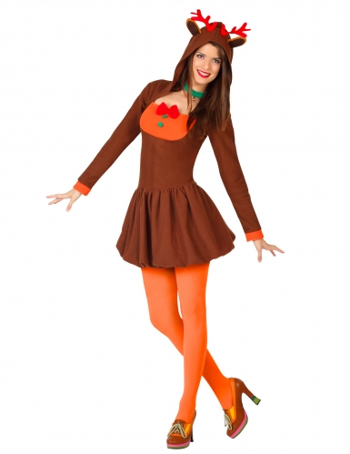 Rentier-Kostüm Rentier-Frau Kostüm für Frauen Erwachsene Weihnachten Braun Orange Grün