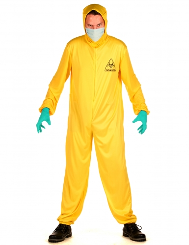 Strahlenschutzanzug Kostüm für Erwachsene Halloween gelb-hellblau