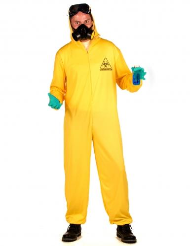 Strahlenschutzanzug Kostüm für Erwachsene Halloween gelb-hellblau-2