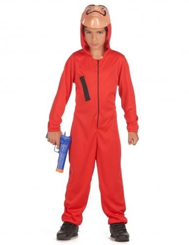 Bankräuber-Kostüm für Kinder Film-Figur rot-schwarz