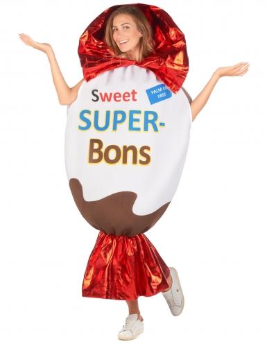 Sweet Super-Bons-Kostüm für Erwachsene Süßigkeit weiß-braun-rot