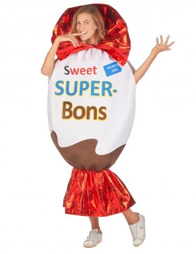 Sweet Super-Bons-Kostüm für Erwachsene Süßigkeit weiß-braun-rot-1