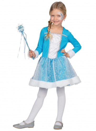 Zauberhafte Eisprinzessin Kinderkostüm für Mädchen Fasching blau-weiss-1