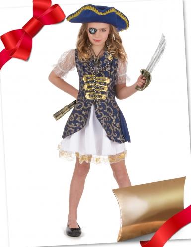 Piraten-Geschenke-Box für Mädchen Kostüm-Set blau-weiss