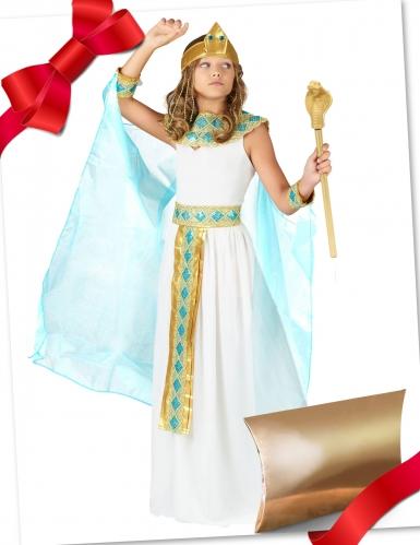 Ägypterin-Geschenke-Set für Kinder Fasching weiss-türkis-gold