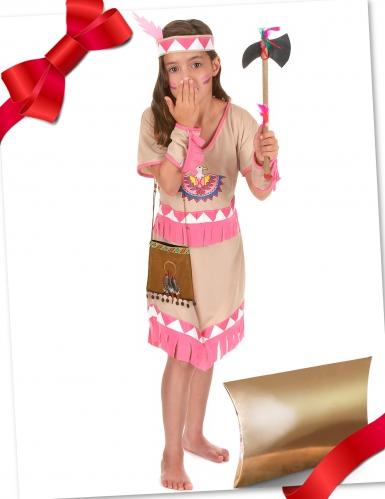 Indianer-Kostüm-Set für Mädchen Geschenke-Box für Kinder braun-rosa