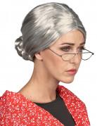 Graue Damenperücke Großmutter mit Dutt